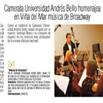 Camerata Universidad Andrés Bello homenajea en Viña del Mar música de Broadway
