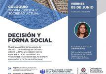 Invitan a ser parte del Coloquio Teoría Crítica y Sociedad Actual. Decisión y forma social