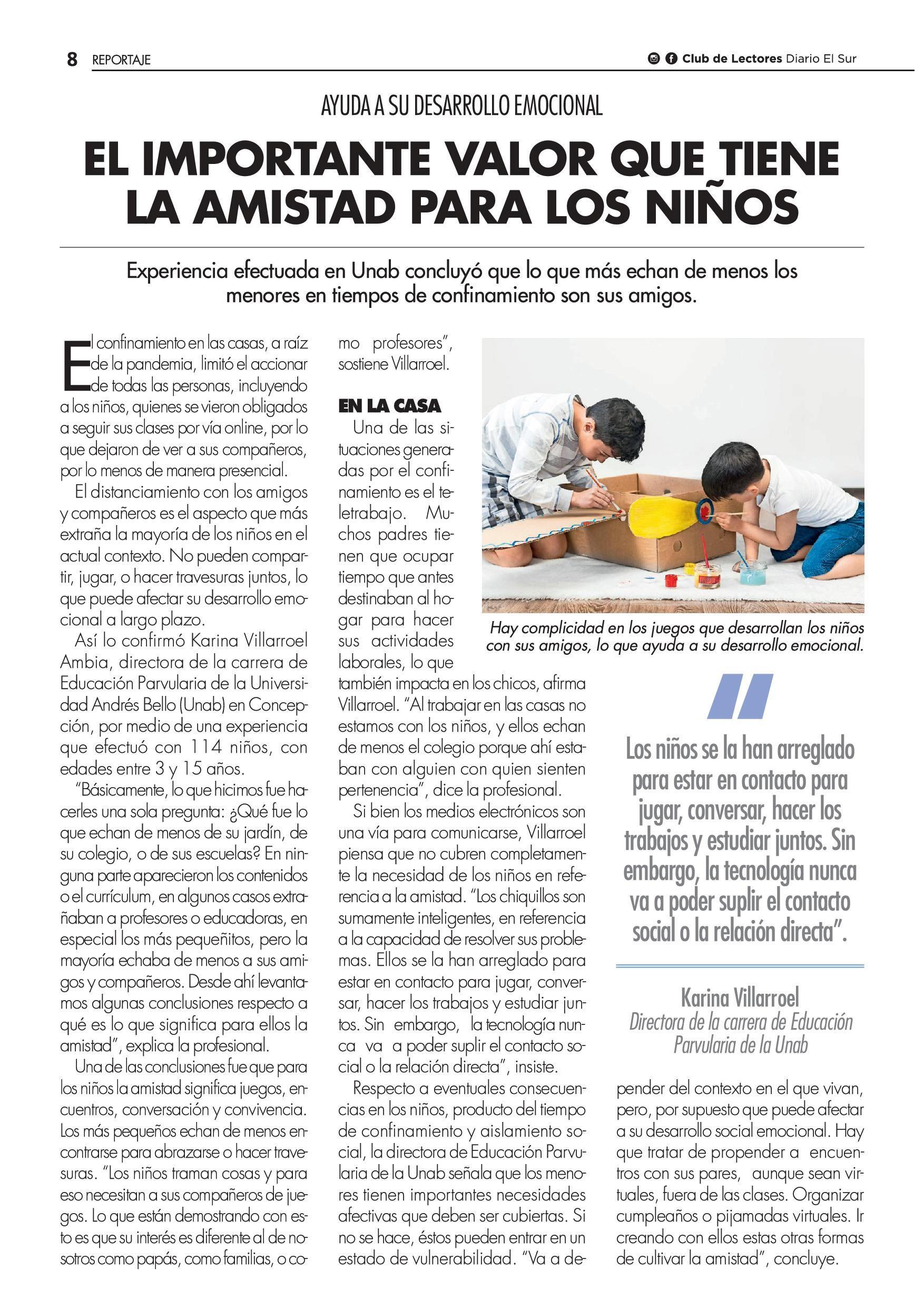 El Sur El Importante Valor Que Tiene La Amistad En Los Niños Noticias Universidad Andrés Bello