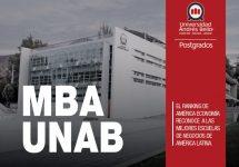 MBA UNAB se ubica entre los 10 mejores del país en ranking de América Economía
